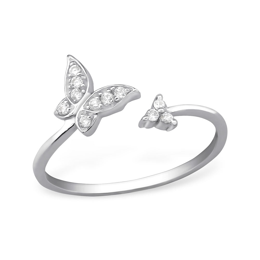 Butterfly Crystal Sterling Silver Wrap Ring - I love silver jewellery