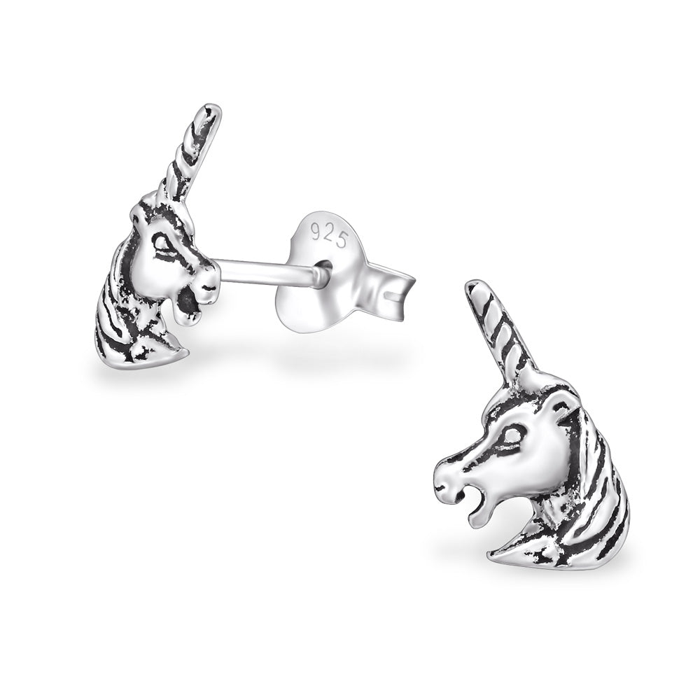 Unicorn Head Vintage Sterling Silver Stud Earrings - I love silver jewellery