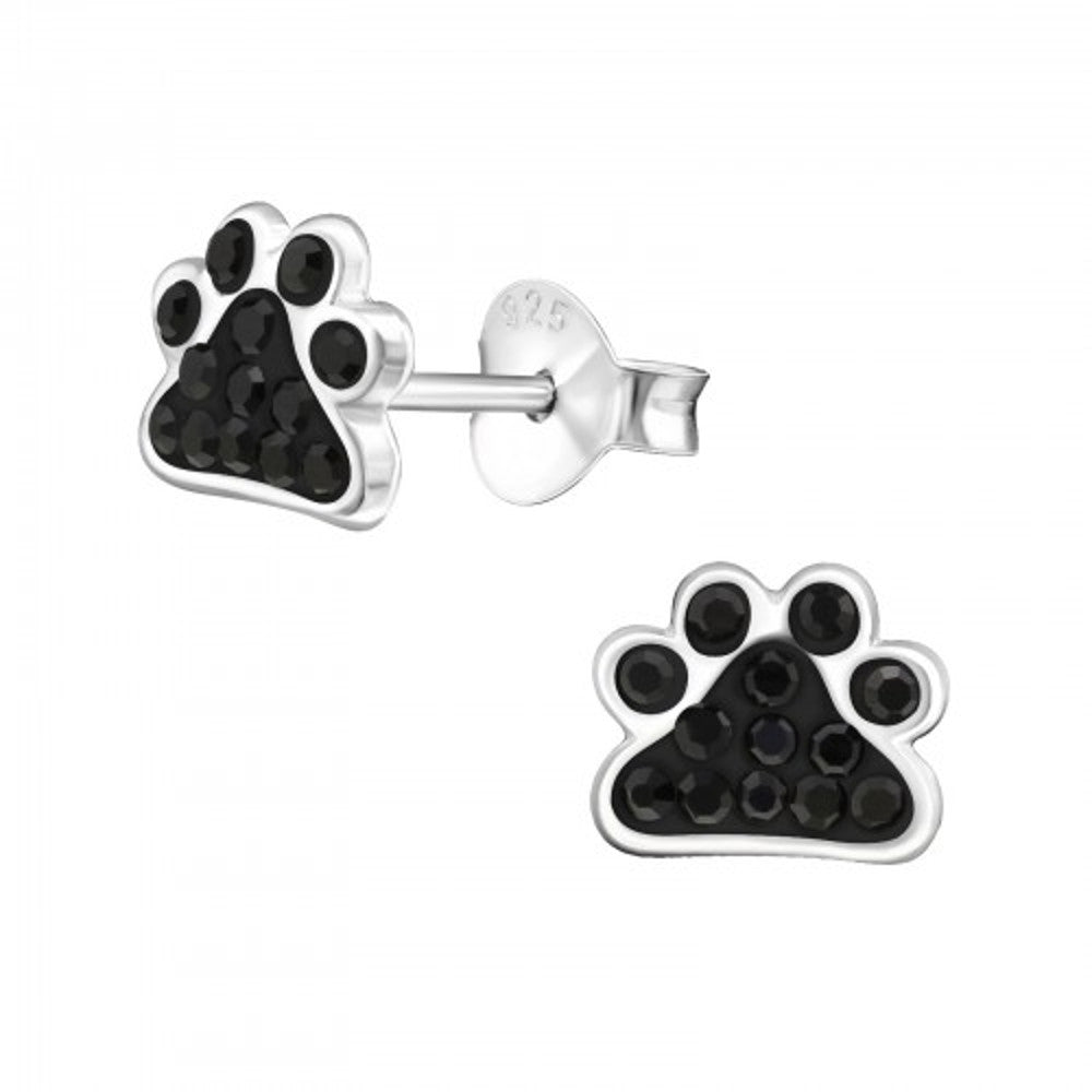 Jet Black Crystal Paw Print Sterling Silver Tiny Stud Earrings - I love silver jewellery