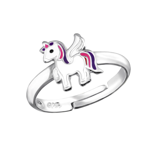 Girls White Multi Unicorn Sterling Silver Adjustable Ring - I love silver jewellery