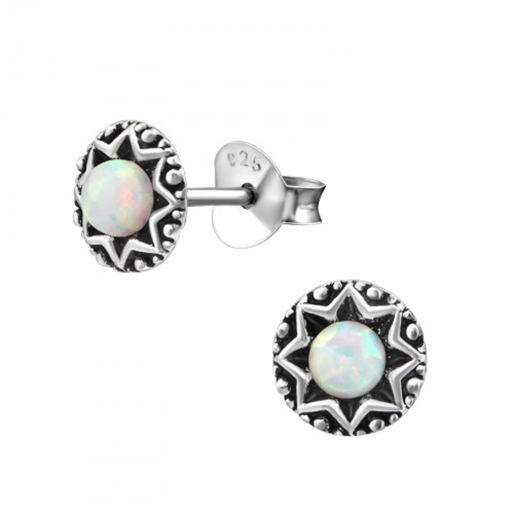 White Opal Engraved Star Sterling Silver Stud Earrings - I love silver jewellery