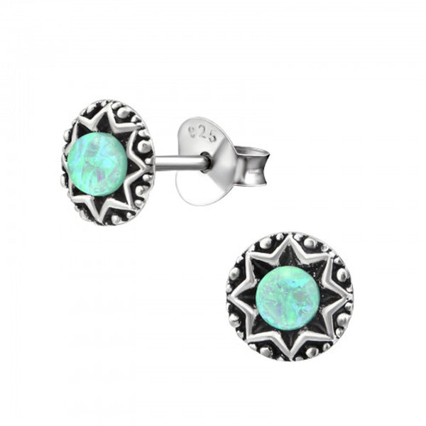 Mint Green Opal Engraved Star Sterling Silver Stud Earrings - I love silver jewellery