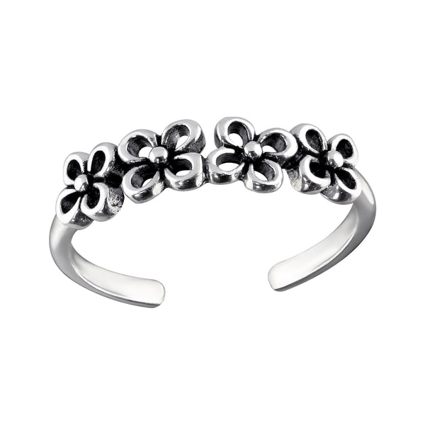 Vintage Flower Cut Out Sterling Silver Toe Ring - I love silver jewellery