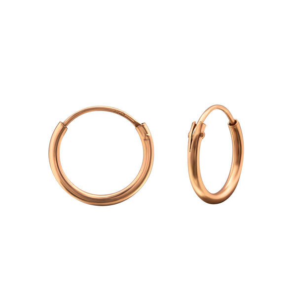 14ct Rose Gold Sterling Silver Mini Hoop Earrings 12mm - I love silver jewellery