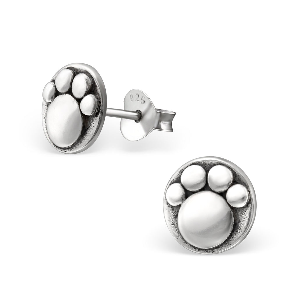 Engraved Paw Sterling Silver Round Stud Earrings - I love silver jewellery