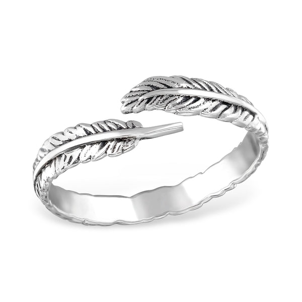 Vintage Feather Engraved Sterling Silver Ring