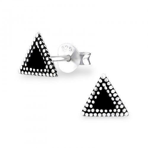 Ethnic Triangle Sterling Silver Stud Earrings - I love silver jewellery