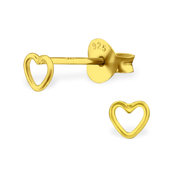 Yellow Gold Heart Sterling Silver Mini Stud Earrings - I love silver jewellery