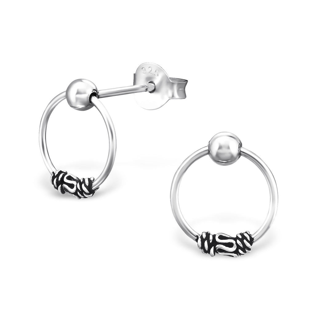 Bali Mini Hoop Sterling Silver Drop Earrings - I love silver jewellery