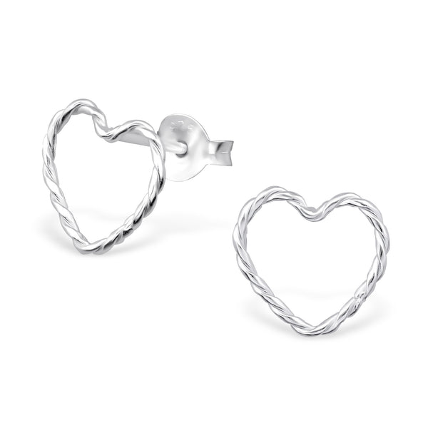 Twist Outline Heart Sterling Silver Small Stud Earrings - I love silver jewellery
