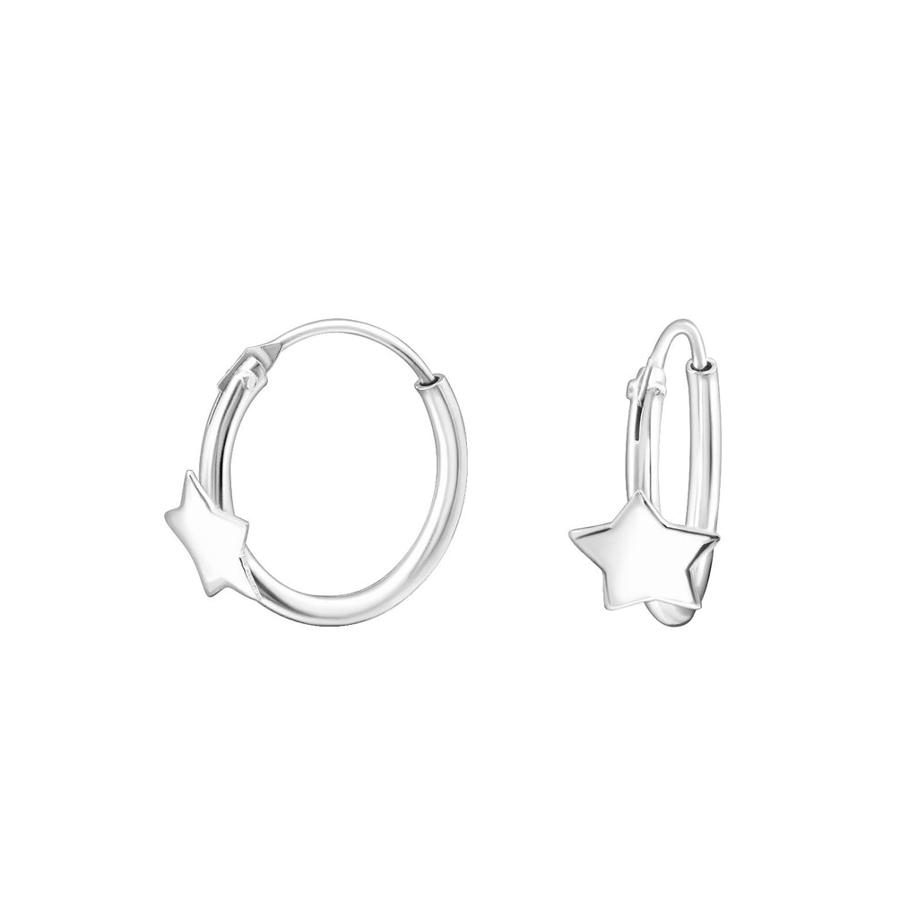 Floating Star Sterling Silver Tiny Hoop Earrings 12mm - I love silver jewellery
