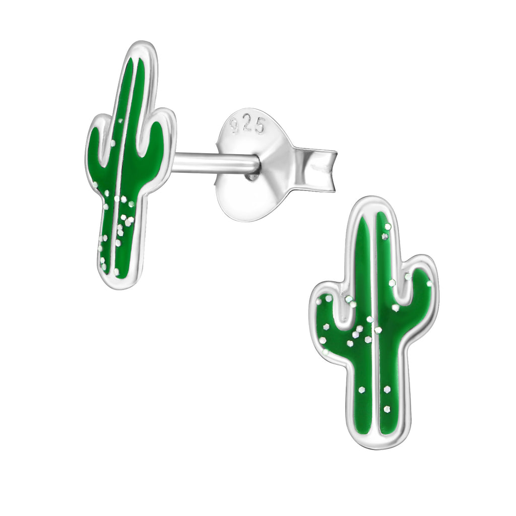 Girls Green Cactus Glitter Sterling Silver Stud Earrings - I love silver jewellery