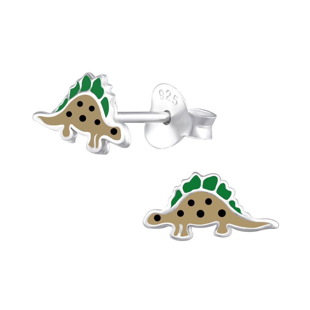 Girls Green & Brown Dinosaur Sterling Silver Stud Earrings - I love silver jewellery