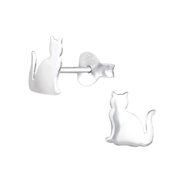 Sitting Cat Sterling Silver Stud Earrings - I love silver jewellery