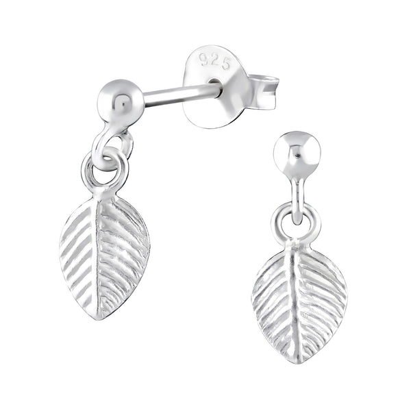 Engraved Leaf Sterling Silver Tiny Drop Earrings 6mm - I love silver jewellery