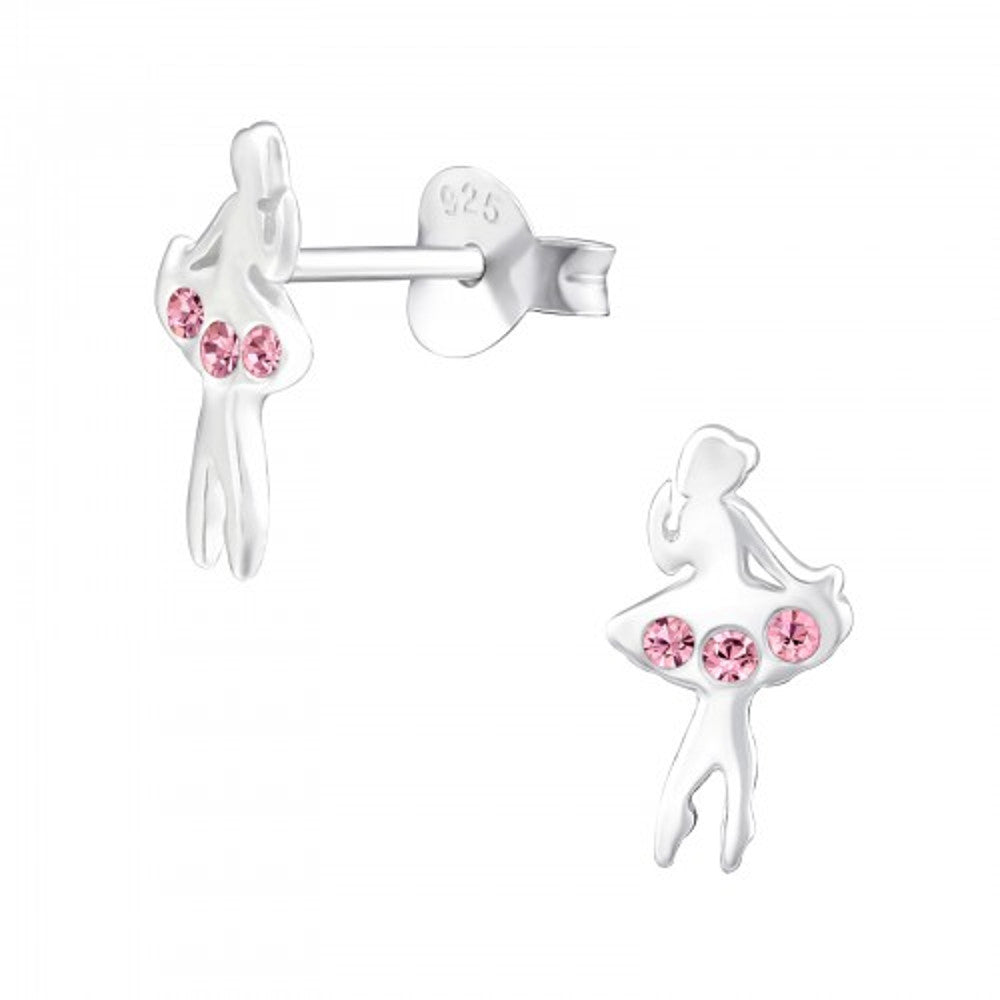 Girls Pink Crystal Ballet Dancer Sterling Silver Stud Earrings - I love silver jewellery