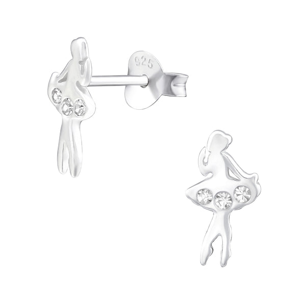 Girls Clear Crystal Ballet Dancer Sterling Silver Stud Earrings - I love silver jewellery