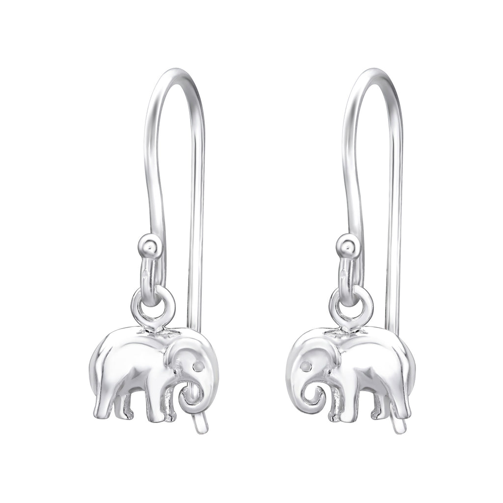 Simple Elephant Sterling Silver Mini Drop Earrings - I love silver jewellery