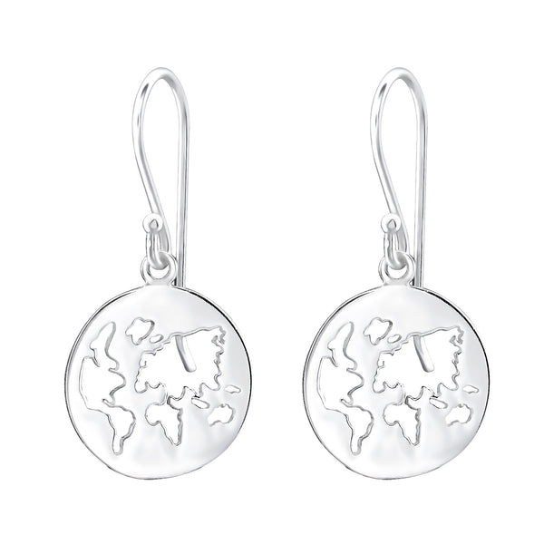 Globe Of The World Sterling Silver Small Drop Earrings - I love silver jewellery