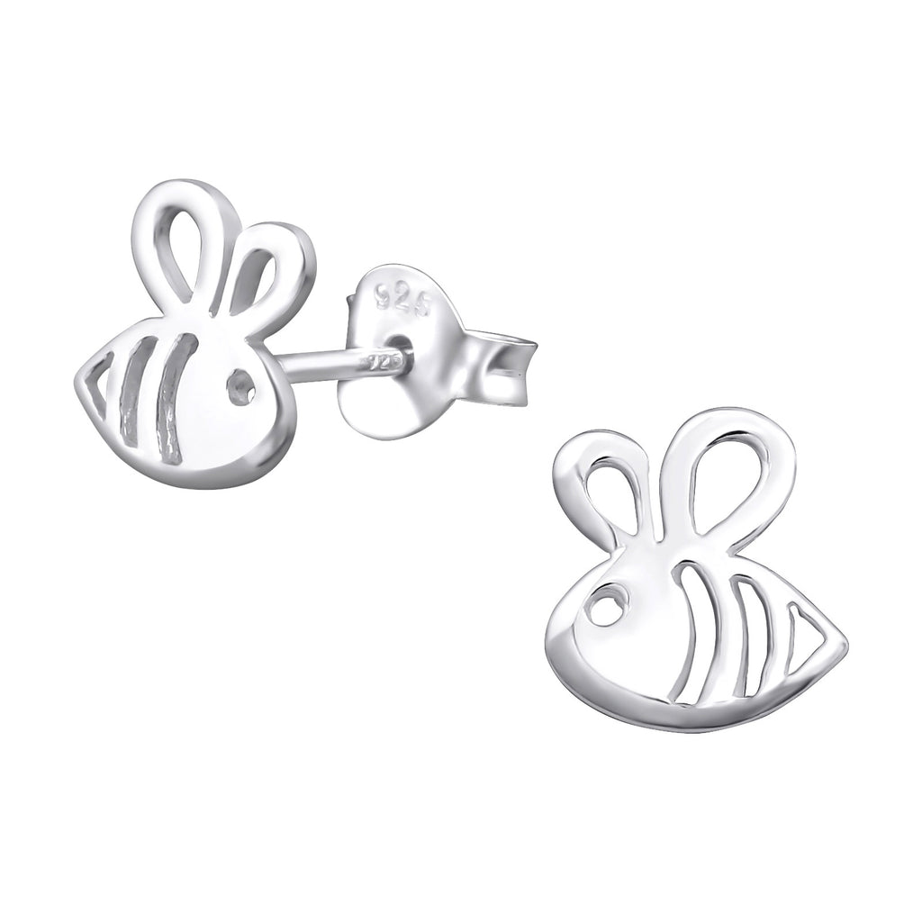 Cut Out Bumble Bee Sterling Silver Stud Earrings - I love silver jewellery