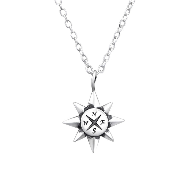 Compass Sun Sterling Silver Necklace - I love silver jewellery