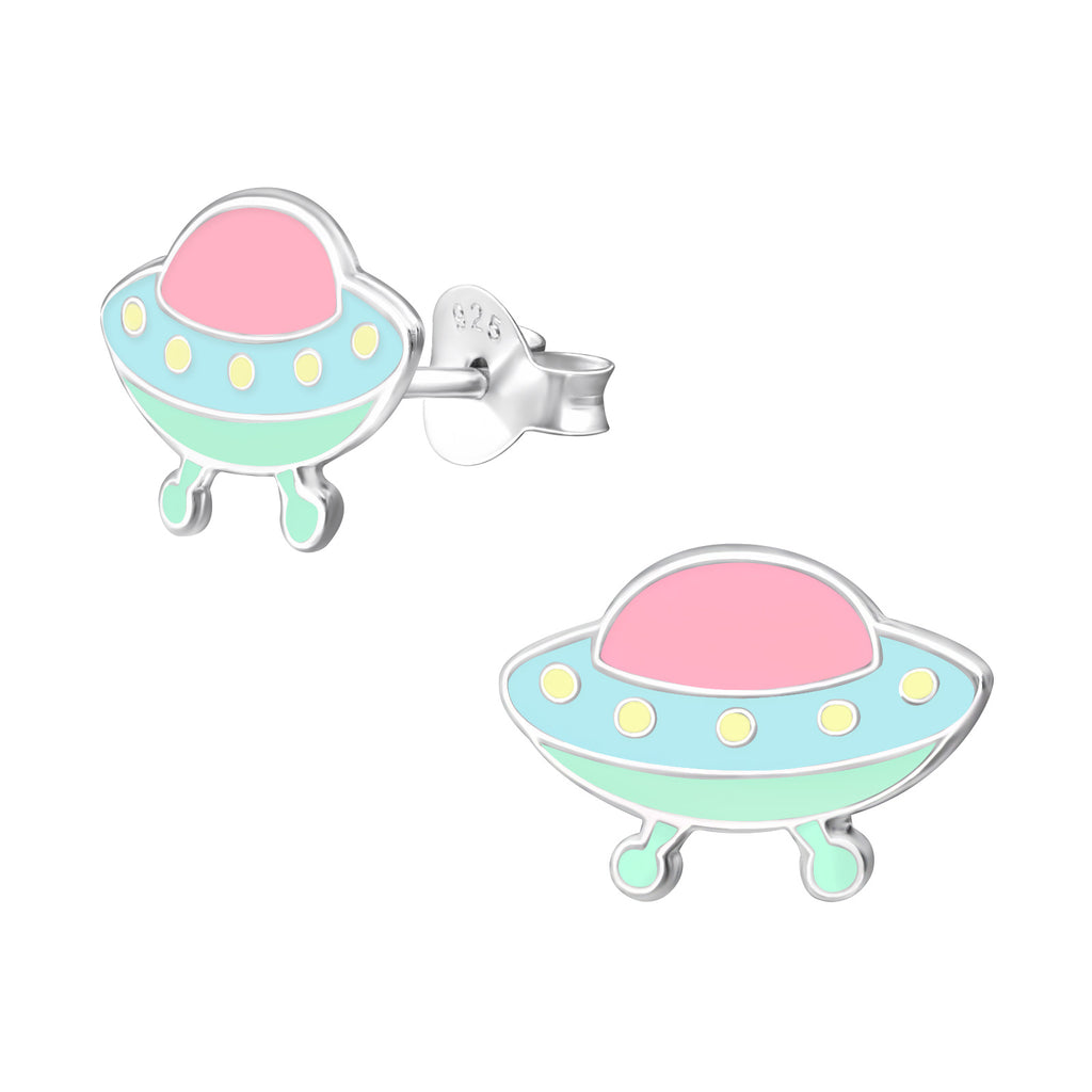 Girls Blue & Pink Spaceship Sterling Silver Stud Earrings - I love silver jewellery