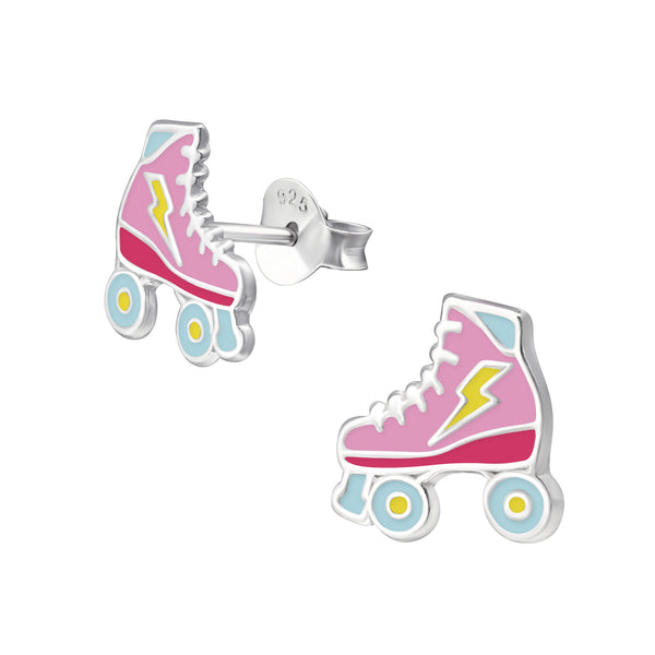 Girls Pink & Blue Roller Skates Sterling Silver Stud Earrings - I love silver jewellery