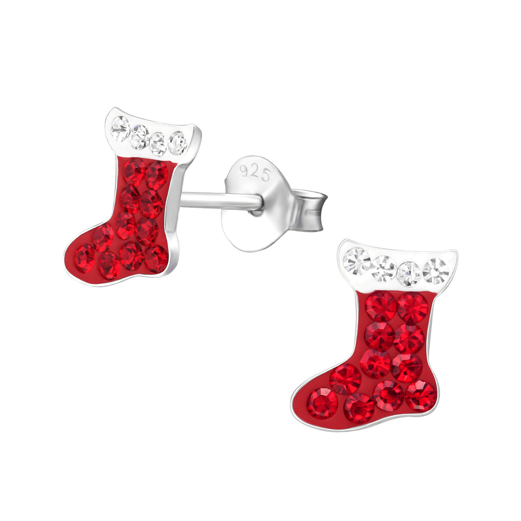 Red Crystal Christmas Stocking Sterling Silver Stud Earrings - I love silver jewellery