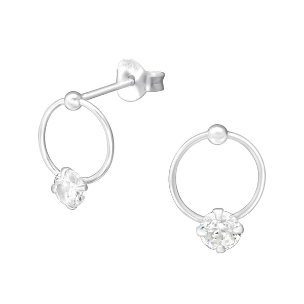 Clear Crystal CZ Open Circle Sterling Silver Mini Stud Earrings - I love silver jewellery
