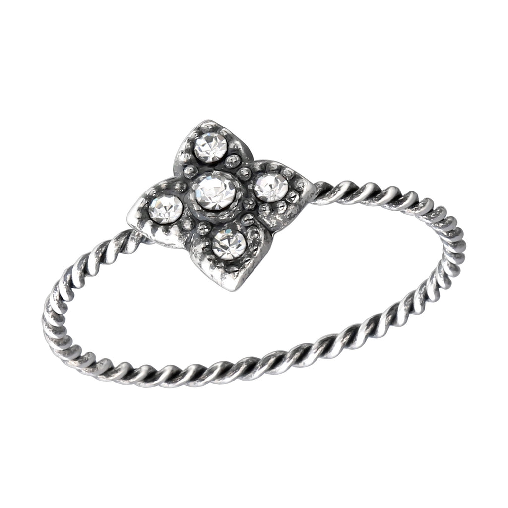Crystal Flower Twist Stacking Ring - I love silver jewellery