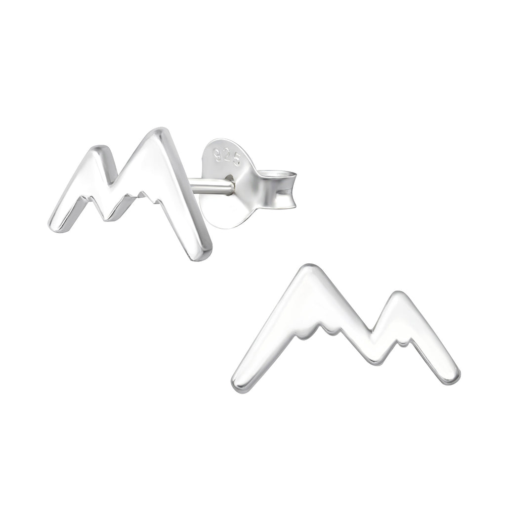 Mountain Outline Sterling Silver Stud Earrings Size - I love silver jewellery