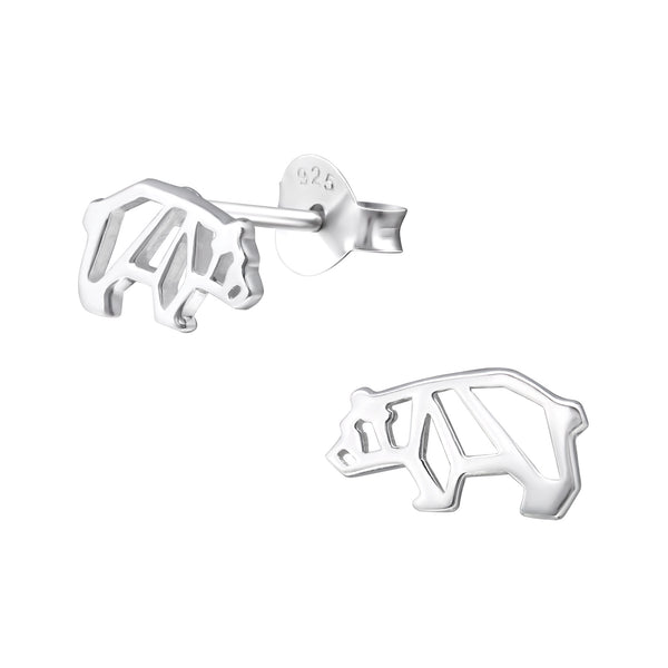 Bear Cut Out Sterling Silver Stud Earrings - I love silver jewellery