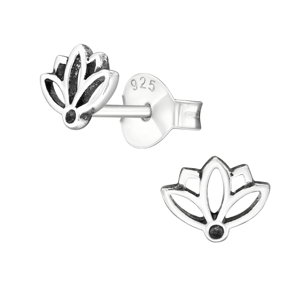 Lotus Flower Sterling Silver Cut Out Stud Earrings 6mm - I love silver jewellery