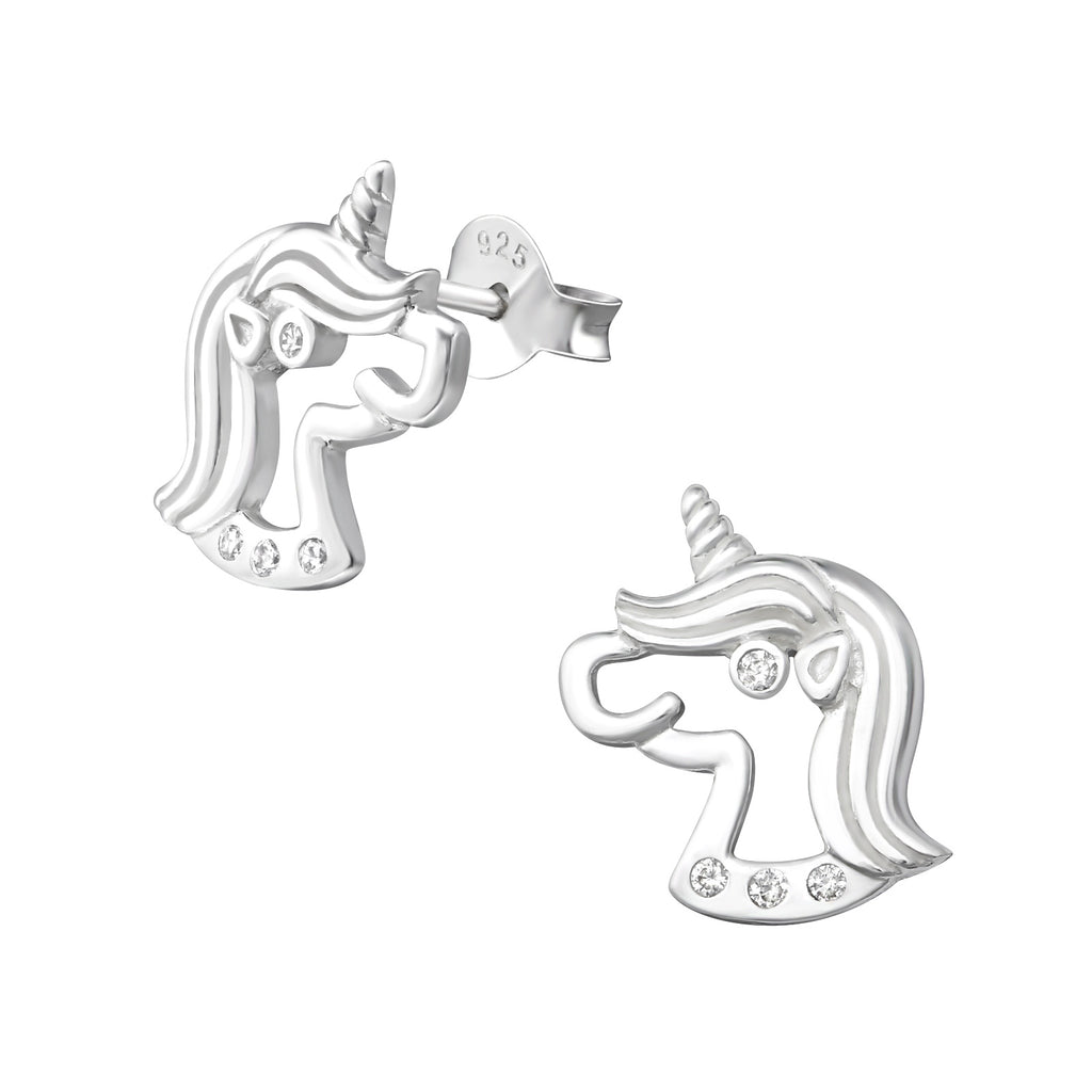 Unicorn CZ Cut Out Sterling Silver Stud Earrings - I love silver jewellery