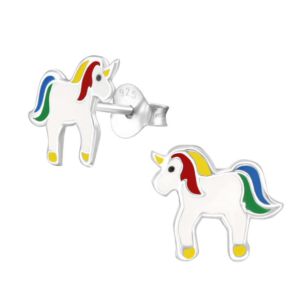 Girls White Multi Primary Unicorn Sterling Silver Stud Earrings - I love silver jewellery