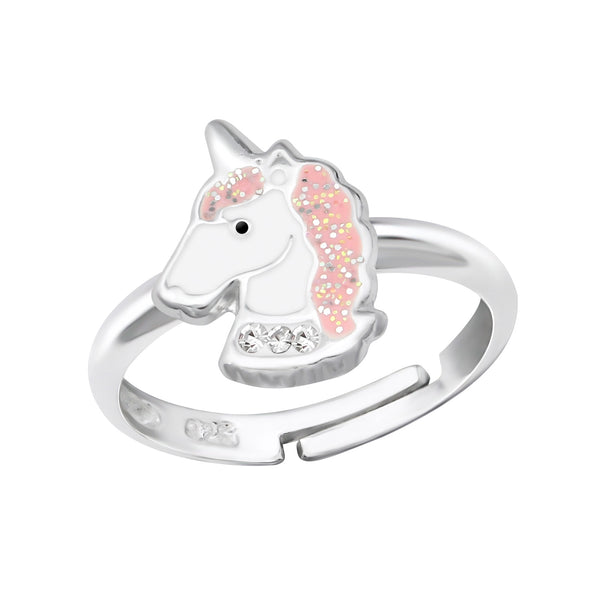Girls Pink Unicorn Head Sterling Silver Adjustable Ring - I love silver jewellery