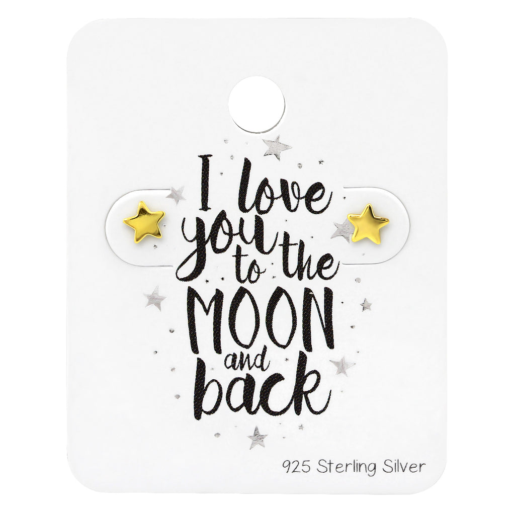 Mini Star Love You To The Moon Gold Plated Sterling Silver Stud Earrings - I love silver jewellery