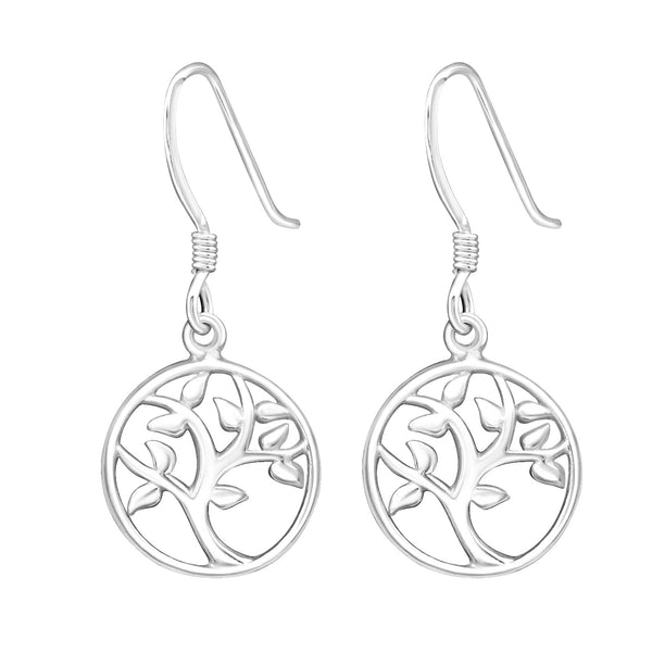 Tree Cut Out Round Sterling Silver Drop Earrings - I love silver jewellery
