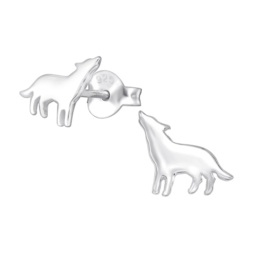 Simple Wolf Sterling Silver Stud Earrings