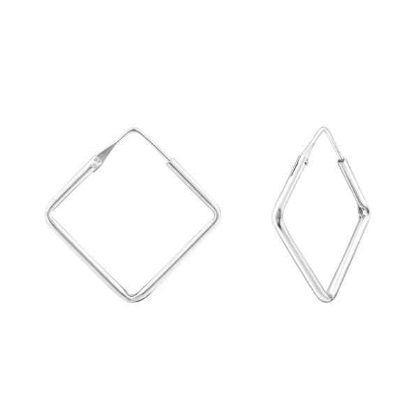 Square Sterling Silver Hoop Earrings 26mm - I love silver jewellery