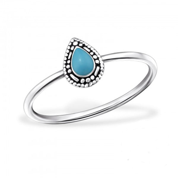 Turquoise Oval Midi Ethnic Sterling Silver Ring Size G - I love silver jewellery