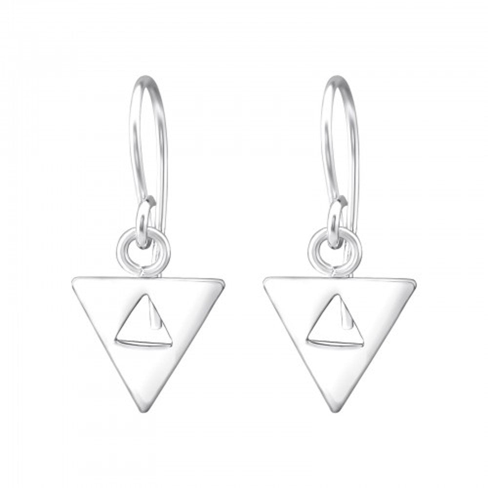 Cut Out Triangle Sterling Silver Mini Drop Earrings 8mm - I love silver jewellery