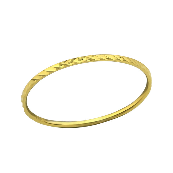 14ct Yellow Gold Plated Diamond Cut Sterling Silver Band Ring 1mm - I love silver jewellery