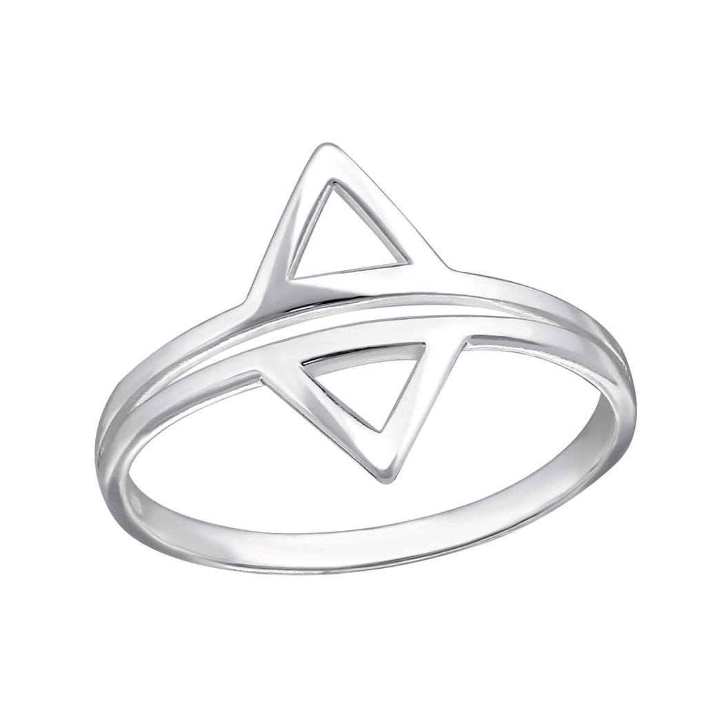 Double Triangle Cut Out Sterling Silver Ring - I love silver jewellery