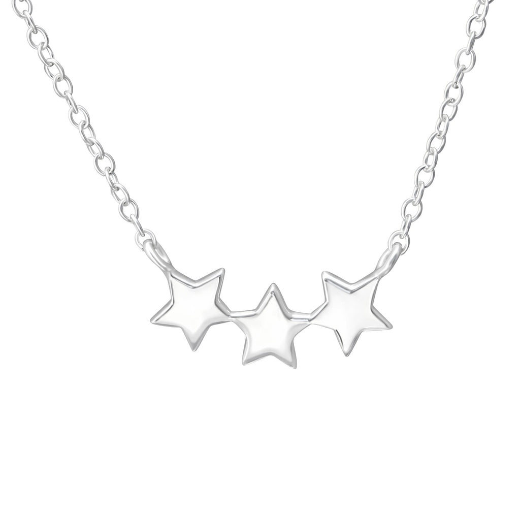 Three Dainty Stars Sterling Silver Necklace - I love silver jewellery