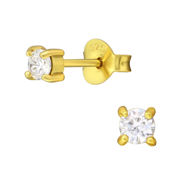 14ct Yellow Gold Plated Round CZ Crystal Sterling Silver Stud Earrings 3mm - I love silver jewellery