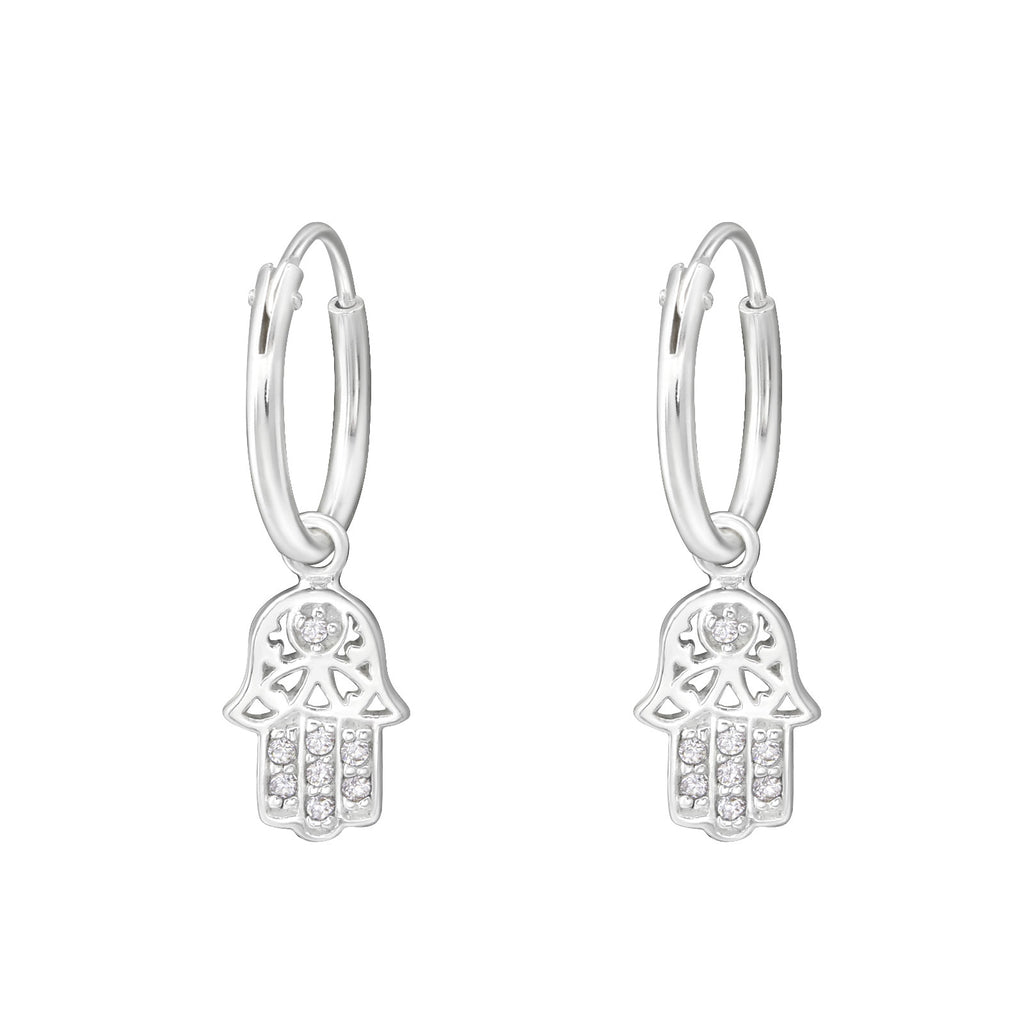 Hamsa Hand Charm Sterling Silver Mini Hoop Earrings 12mm - I love silver jewellery