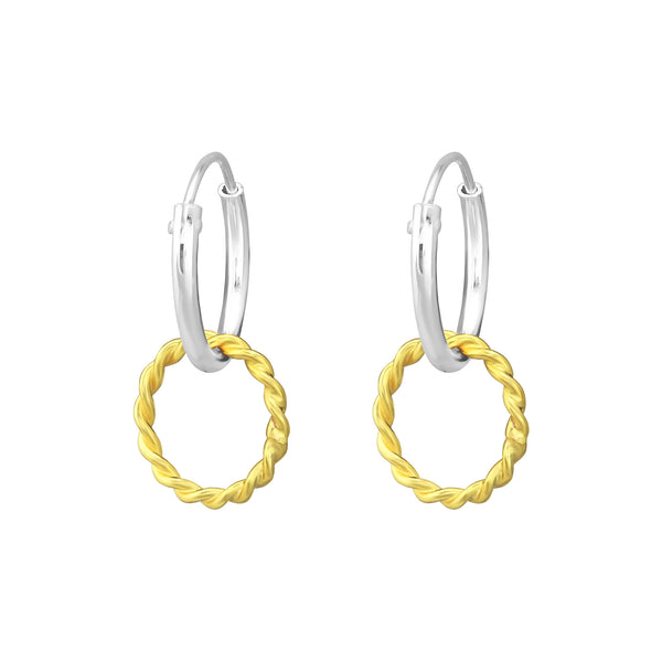 Yellow Gold Textured Mini Hoop Sterling Silver Earrings 10mm - I love silver jewellery