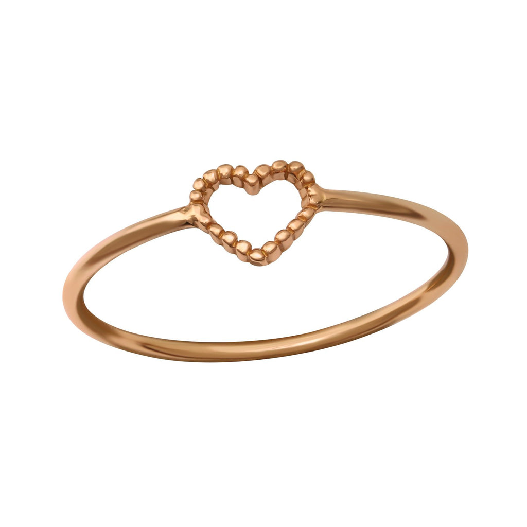 14ct Rose Gold Plated Textured Heart Sterling Silver Ring - I love silver jewellery