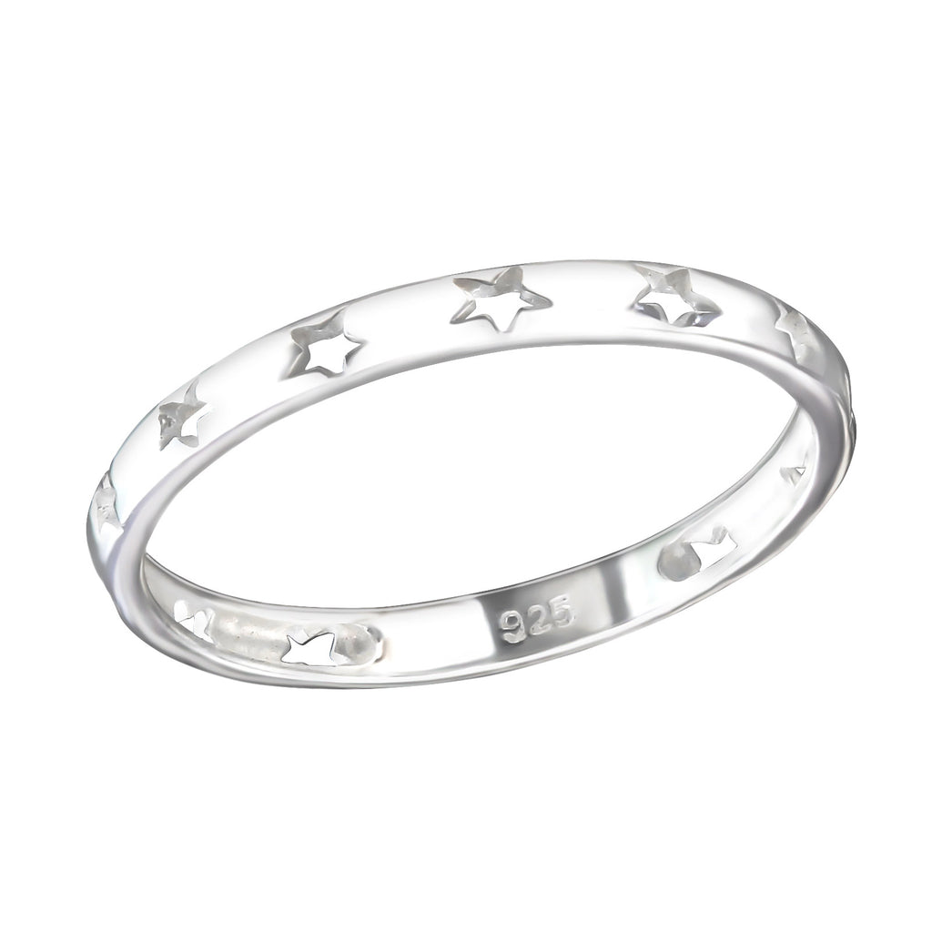 Star Cut Out Band Sterling Silver Stacking Ring 2mm - I love silver jewellery